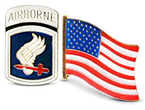 Patriotic 173rd Airborne Brigade Division & American Flag Lapel or Hat Pin & Tie Tack Set with Clutch Back by Novel Merk