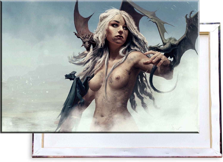 Unified Distribution Game of Thrones - König der Drachen - - - 100x70 cm - Bilder & Kunstdrucke fertig auf Leinwand aufgespannt und in erstklassiger Druckqualität B07HY8XPXT b6fc06