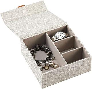 mDesign pudełko na biżuterię z pokrywą na zawiasach – kompaktowy organizer na biżuterię z 4 przegródkami – nadaje się do p...