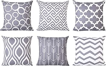 Topfinel Decorative Cushion Covers Durable Canvas Outdoor Pillow Covers 20 x 20 for Couch Bedroom Car, Pack of 6, Grey