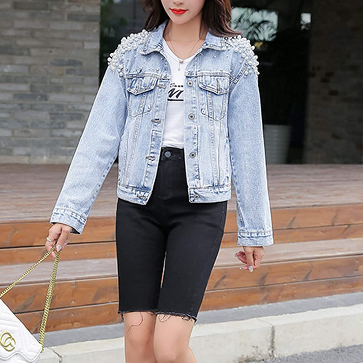 Hixiaohe Women's Embroidered Pearls Beading Denim Jacket Vintage Washed Jean Coat