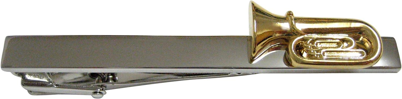 Kiola Designs Gold Toned Tuba Musical Instrument Square Tie Clip