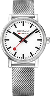 Mondaine SBB Swiss-Quartz Watch with Stainless-Steel Strap, Silver, 18 (Model: MSE.35110.)