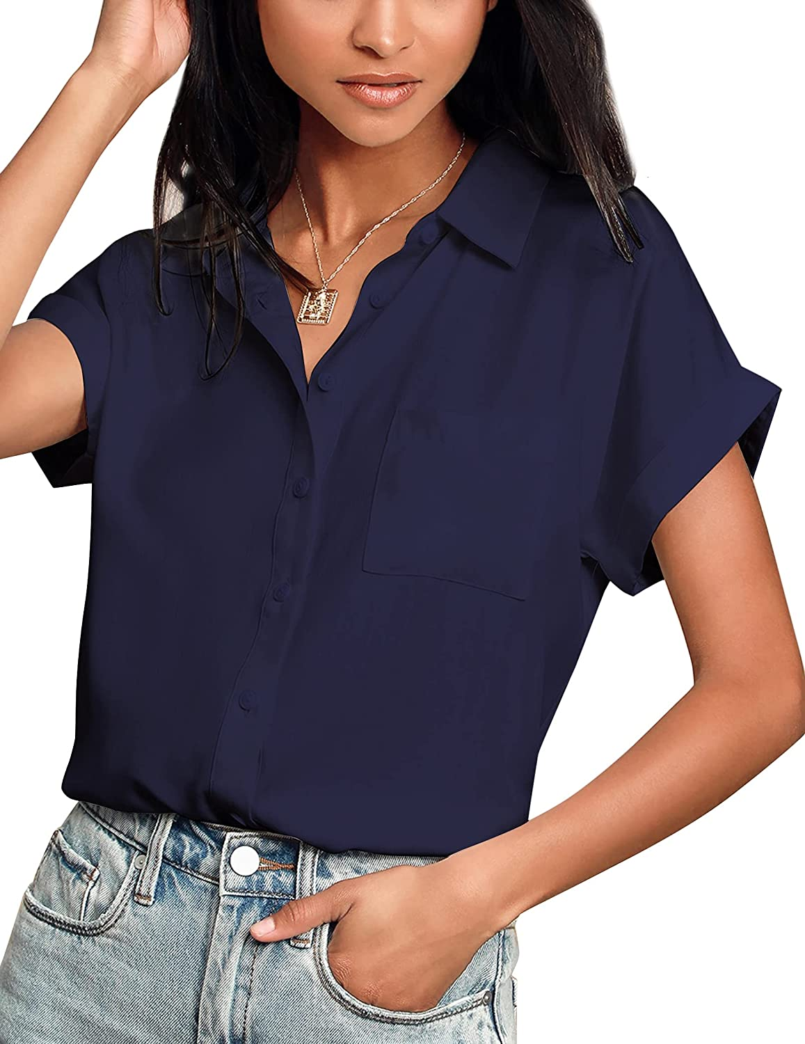 Hotouch Women Shirts Short Sleeve Button Down Up V-Neck Casual Loose Shirts Blouse
