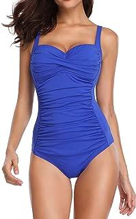 Romenza Women Swimsuit 1 Piece Tummy Control Slimming Ruched Swimwear Bikini Beachwear