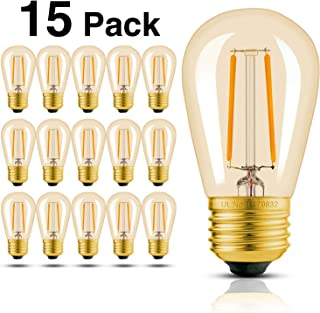 Hizashi 15 Pack 2W Dimmable LED S14 2200K Warm Filament Bulbs Medium Base (E26), Outdoor Amber Edison Bulbs, 25W Equivalent, Outdoor String Lights Bulbs Replacement, CEC Compliant, UL Listed