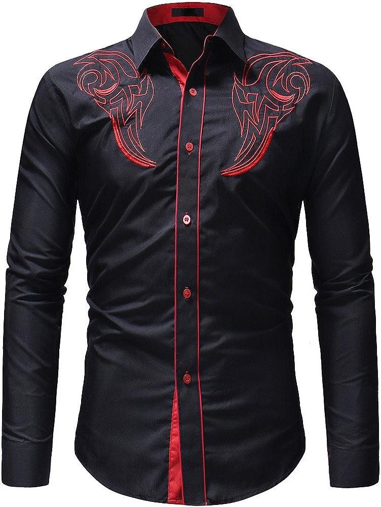 Mnyycxen Mens Regular Fit Cuban Embroidery Shirts Casual Button Down Beach Shirts