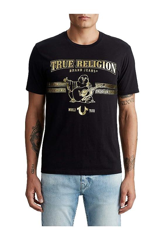 True Religon Men's World Tour Buddha Gold Metallic Foil Tee T-Shirt in Black