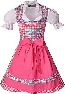 Bayer Madl Mädchen Kinderdirndl pink türkis mit Bluse - Dirndl Edita 3-teilig für Mädchen