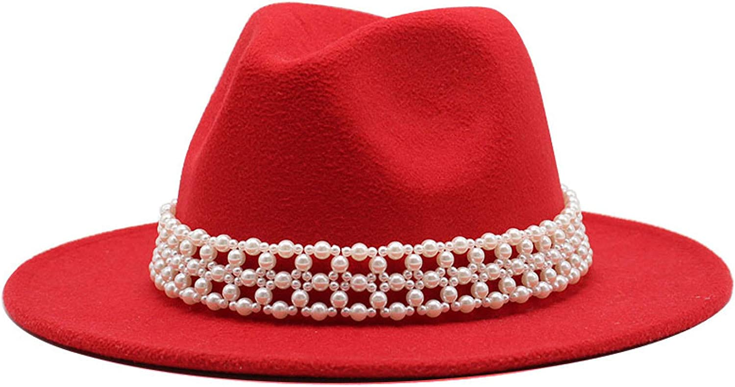 ASO-SLING 1920s Wool Felt Fedora Hat for Ladies Elegant Solid Color Jazz Hat Pearl Band Panama Hat for Church Wedding
