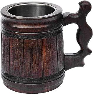 Handmade Beer Mug (10 OZ) Wooden Tankard Beer Stein Oak Wood Stainless Steel Cup Gift Natural Eco-Friendly