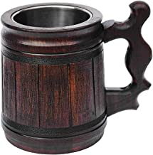 Handmade Beer Mug (10 OZ) Wooden Tankard Beer Stein Oak Wood Stainless Steel Cup Gift Natural Eco-Friendly