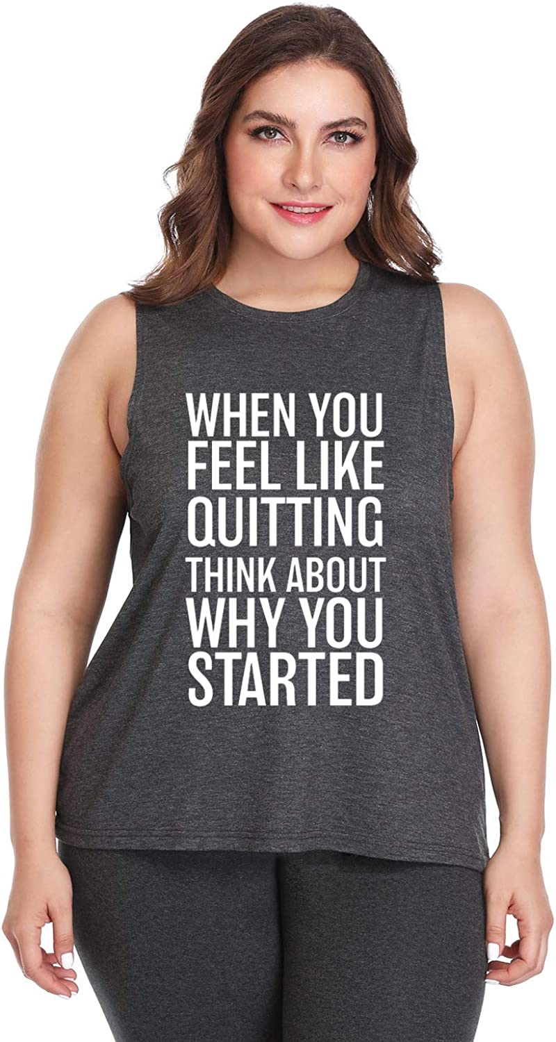 FANNOO Plus Size Workout Tank Tops for Women-Womens Funny Saying Fitness Gym Racerback Sleeveless Shirts