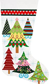 Alice Peterson Home Creations Holiday Edition Needlepoint Stocking Kit-- Merry Christmas Trees- Large, Deluxe Size