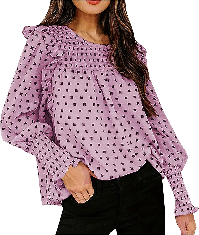 RFNIU T Shirts For Women Fall Fashion Wave Point Flowy Chiffon Lantern Long Sleeve Pullover Casual Loose Crew Neck Tops