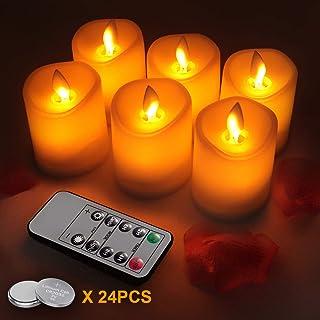 LED Velas sin Llama Φ 5CM x H 7.5cm conjunto de 6 llamas en movimiento realistas 10 Key Mando a Distancia con 2/4/6/8 Horas Función del Temporizador 80+ Horas