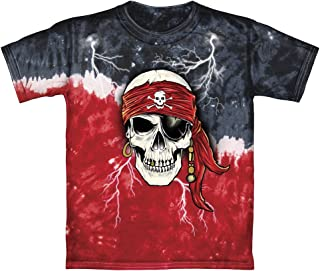 Pirate Skull Glow in The Dark Tie-Dye Adult Tee Shirt