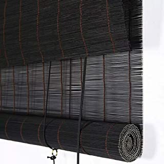 Koovin Black Bamboo Roll Up Shades-Window Blinds-Smooth Wood Shades-Lifting Roller Blinds with Side Pull & Fittings- Black...