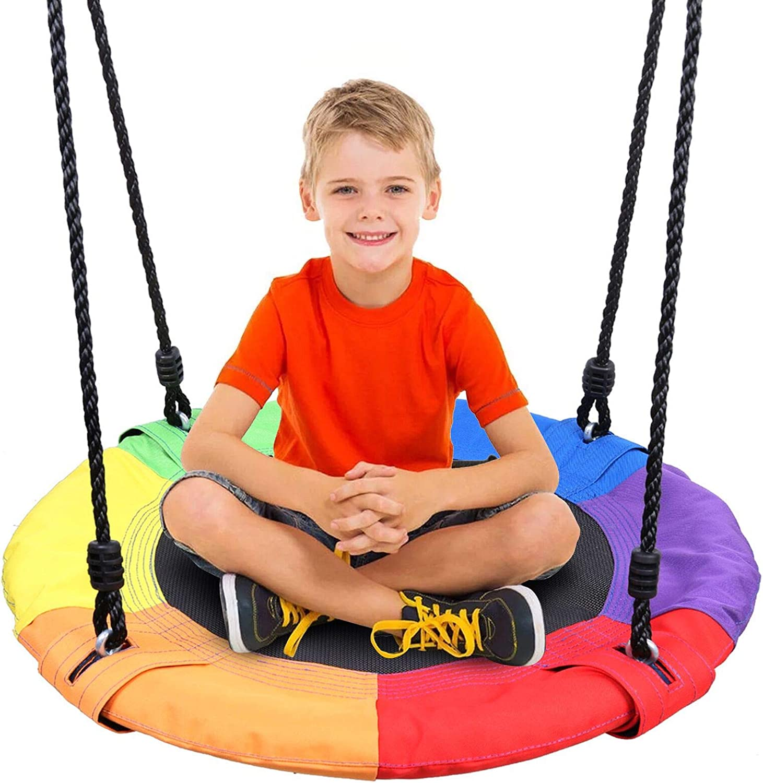 Odoland 24 inch Children Tree Swing SwingSeat, Outdoor Saucer Ro