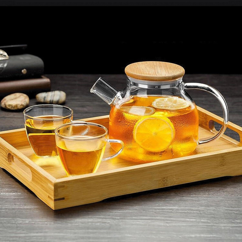 Théière ZHAOJING Ménage Simple Verre Bouilloire Anti-déflagrant Grande 2 Tasses + Plateau à thé (Capacité   1l)