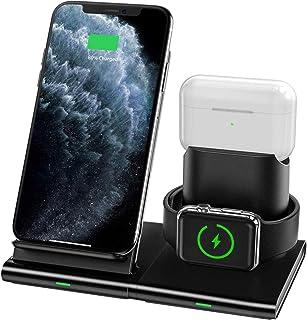 شاحن لاسلكي من Hoidokly 3 في 1 قاعدة شحن لاسلكية لساعة Apple Watch Series 5/4/3/2، Airpods Pro/2، 7.5W Qi سريع الشحن اللاس...
