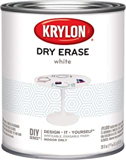 Krylon Dry Erase Brush Quart Paint, White, 6 1