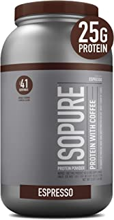 Isopure with Coffee, Vitamin C and Zinc for Immune Support, 25g Protein, Keto Friendly Protein Powder, 100% Whey Protein I...