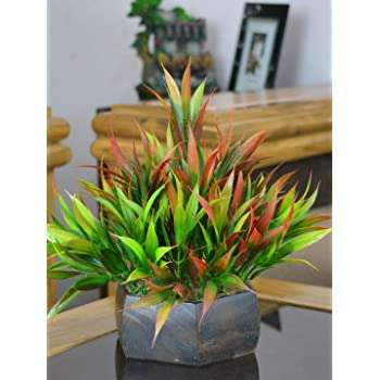 Fancy Mart Plastic & Wood Artificial Bamboo Leaves Plant with Wood Hexagon Pot (20 cm, Multi-Color)