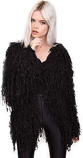 Womens Black Fringe Shaggy Faux Fur Open Jacket Cardigan