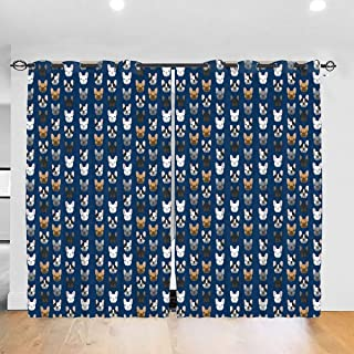 NiYoung Window Curtain Panels with 12 Grommet Room Darkening Drapes for Living Room, French Bulldog Navy Blue Blackout Curtains Thermal Insulated French Door Curtain
