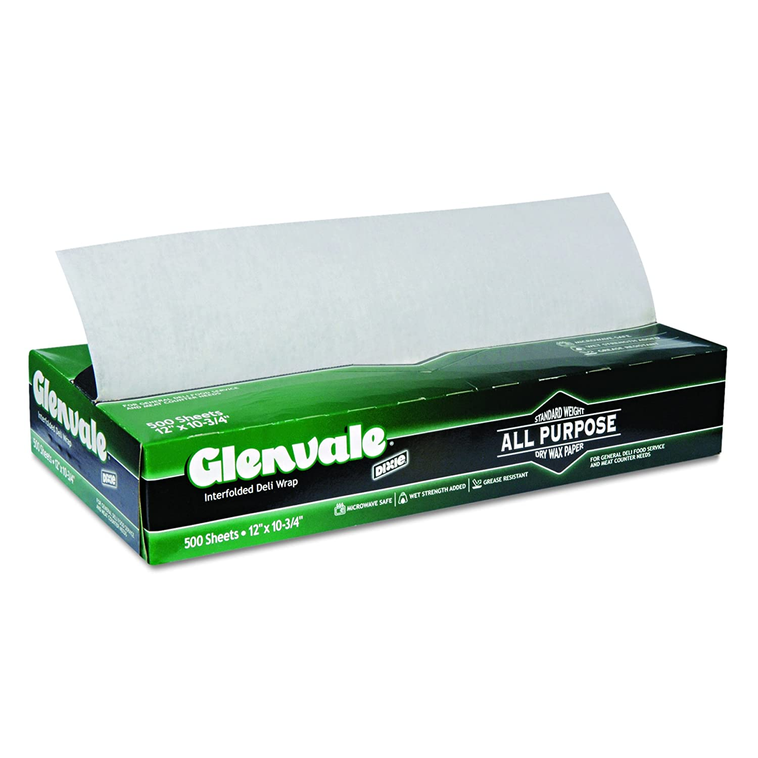Dixie Glenvale Medium-Weight Interfolded Dry Waxed Deli Paper by GP PRO (Georgia-Pacific), G12, White, 10.75