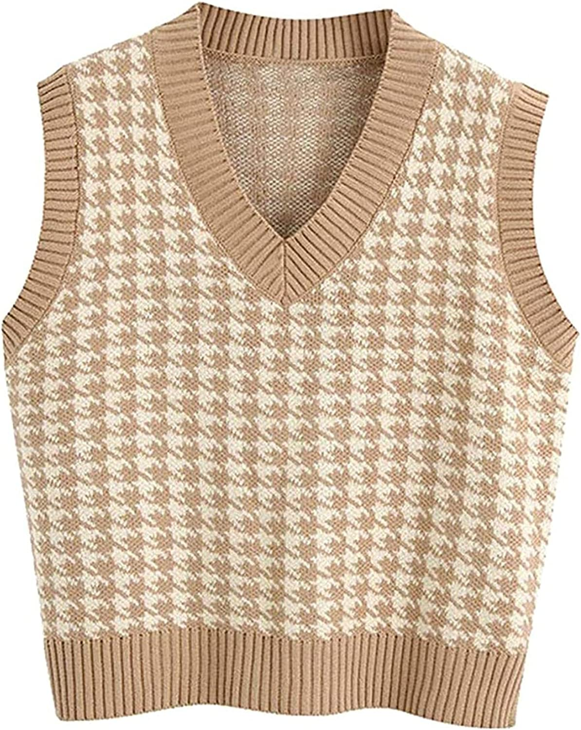 Women Fashion Houndstooth Loose Vest Sweater V Neck Sleeveless Side Vents Female Waistcoat Chic Tops