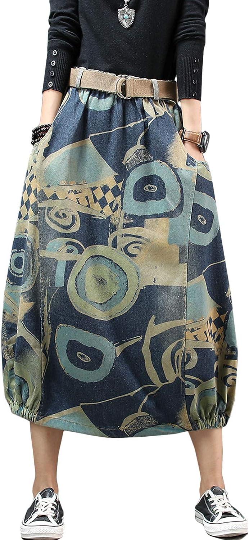 Flygo Women's Vintage Elastic Waist Denim Print A-Line Long Midi Skirt Pockets