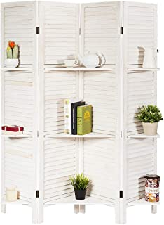 Giantex 4 Panel 5.6 Ft Tall Wood Room Divider, Folding Privacy Partition Room Divider Screens w/ 3 Display Shelves, Panel Room Dividers Privacy Screen for Home, Office, Restaurant, Bedroom (White)