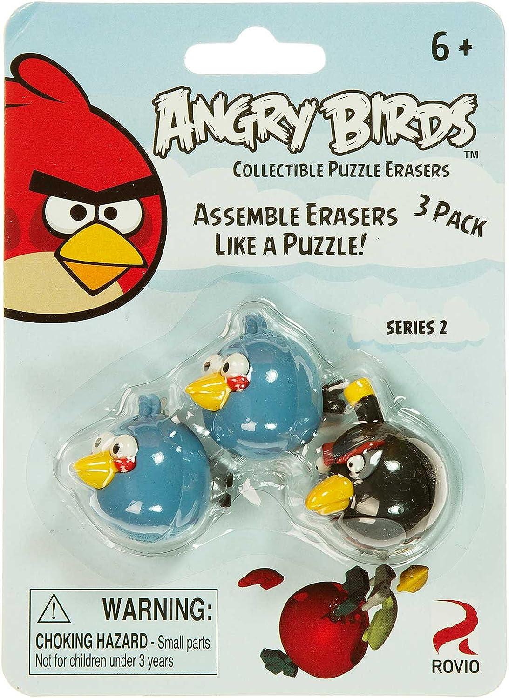 bluee Birds & Black Bird  Angry Birds Collectible Puzzle Erasers Series 2