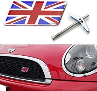 iJDMTOY Red/Blue Union Jack Flag Emblem Badge w/Grille/Mesh Mount Toggle Bolt Anchor For MINI, Jaguar, Land Rover, etc