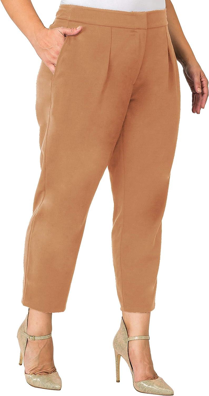 Standards & Practices Plus Size Women's Cropped Tan Suiting Ankle Capri Pants