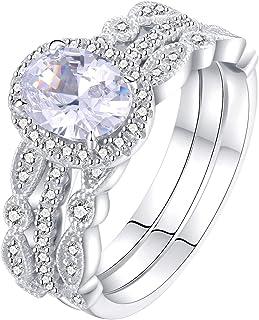 Newshe Jewelry طقم خطوبة خواتم زفاف للنساء 925 فضة استرلينية 3 قطع أبيض اللون مقاس 5-10