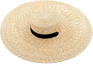 Womens Wide Brim Beach Hat Ribbon Tie Wheat Straw Boater Hat