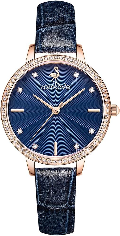 Rorolove,orologio per donna,quadrante con motivo a rosa con diamante brillante,cinturino in pelle RL109011L000078