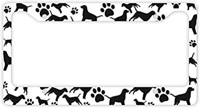 ThisWear Labrador License Plate Frame Dog Silhouette Paw Print License Plate Frame Labrador Gifts Dog Lovers Novelty License Plate Labrador