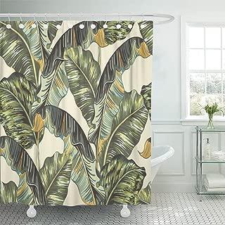 Emvency Waterproof Shower Curtain Curtains Green Banana Tropical Palm Leaves Jungle Leaf Floral Pattern Beige Vintage Botanical 72
