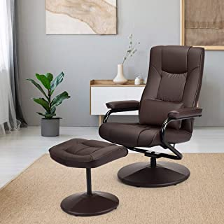 Giantex Massage Recliner Chair w/Ottoman, 360 Degree Swivel PU Leather Chair w/Footrest,..