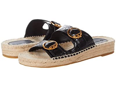 Tory Burch Selby Two-Band Espadrille Slide (Perfect Black) Women