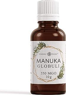 Manuka Honig Globuli von Nordic Pure - radionisch informiert mit 550 MGO Methylglyoxal Gehalt | Südseemyrte von Neuseeland