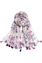 Women Cotton Long Scarf Lady/'s Polyester Shawls Tassels Thin Soft Kerchief Summe
