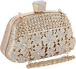 ZTDXCL Damen Clutch Braut Kleid Party Tanzpartybeutel Diamanten Strasssteine Umhängetasche Geldbörse, Gold