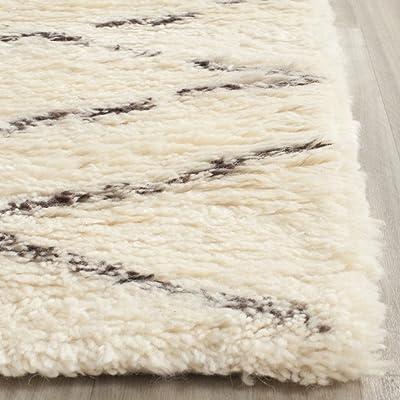 Safavieh Casablanca Shag Collection CSB847A Handmade Ivory and Brown Premium Wool & Cotton Area Rug (11' x 15')