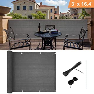 Caiyuangg Balcony Privacy Screen Cover Weather-Resistant UV Protection Balcony Shield Cover (3'x16.4') (Grey)