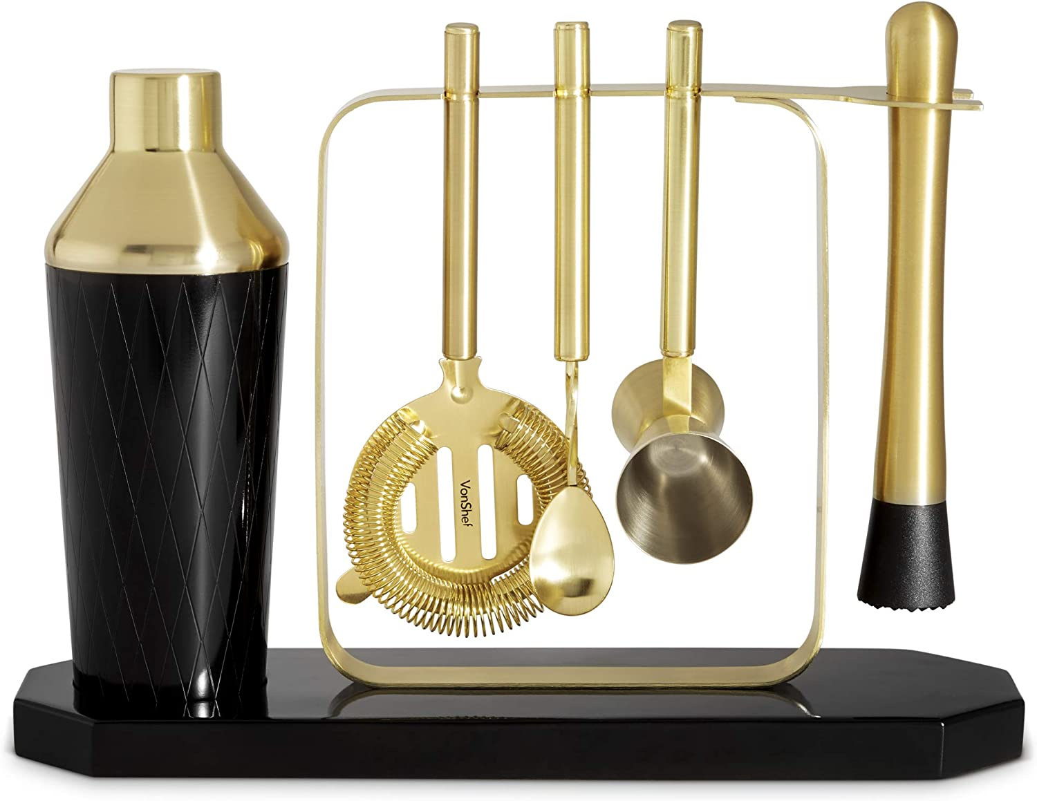 VonShef Premium Cocktail Shaker Barware Set with Display Stand, Includes Cocktail Kit  16oz Shaker, Muddler, Bar Spoon, Hawthorne Strainer, 1oz Jigger and Recipe Book – Black and gold